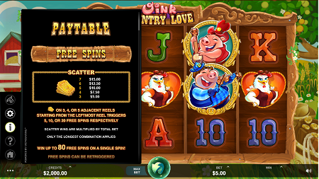 Oink Country Love slot features