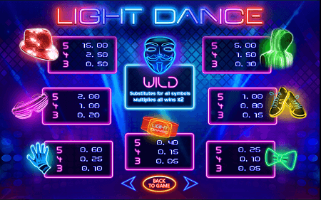 Light Dance slot symbols