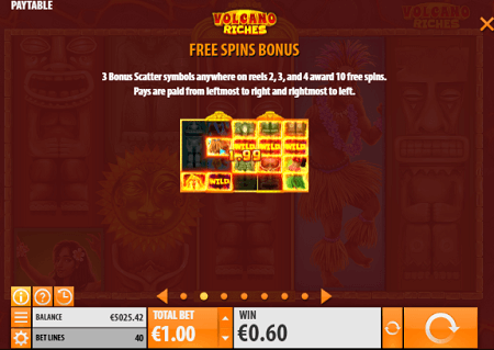 Volcano Riches slot features