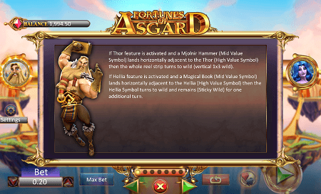 Fortunes of Asgard slot features