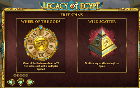 Legacy of Egypt slot features