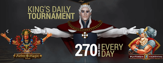 270 Mega Spins for Grabs in King Billy Casino's Daily Tournament