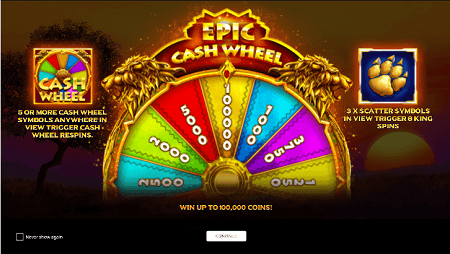 The King slot features