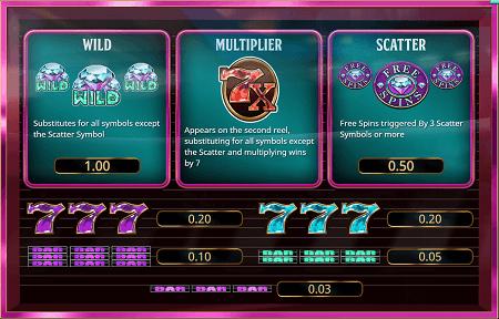 Wild Diamond 7x slot symbols