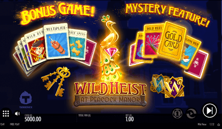 Wild Heist at Peacock Manor slot features