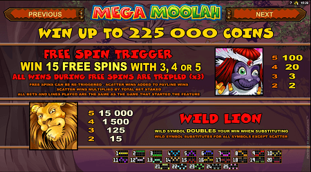 Mega Moolah slot features