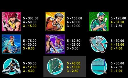 Badminton Hero slot symbols