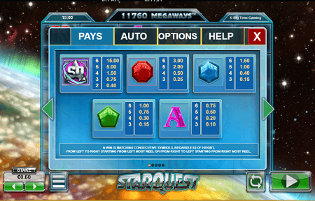 Starquest slot symbols
