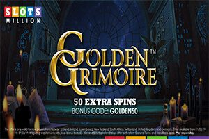 Sign up with SlotsMillion and secure 50 Extra Spins on the Golden Grimoire slot