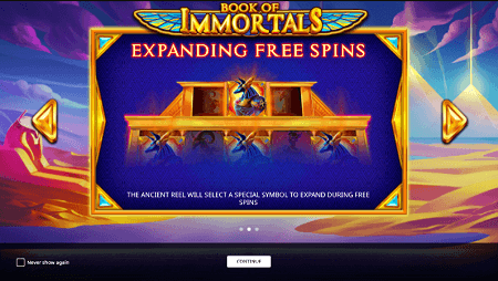 Book of Immortals slot features