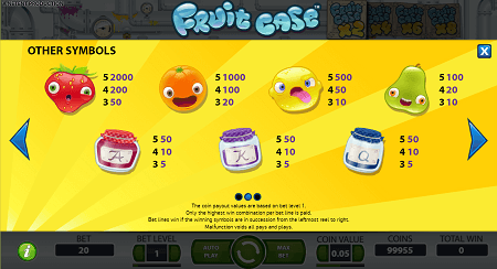 Fruit Case slot symbolss