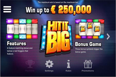 Hit it Big slot features