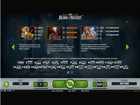 Blood Suckers slot features