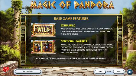 Magic of Pandora slot features