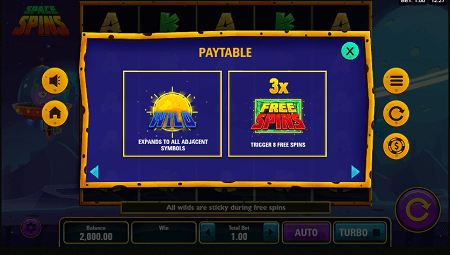 Space Spins slot features