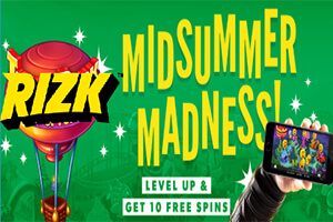 Win prizes worth up to €100 in cash at Rizk this summer