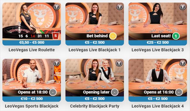 LeoVegas Live Casino Private Tables