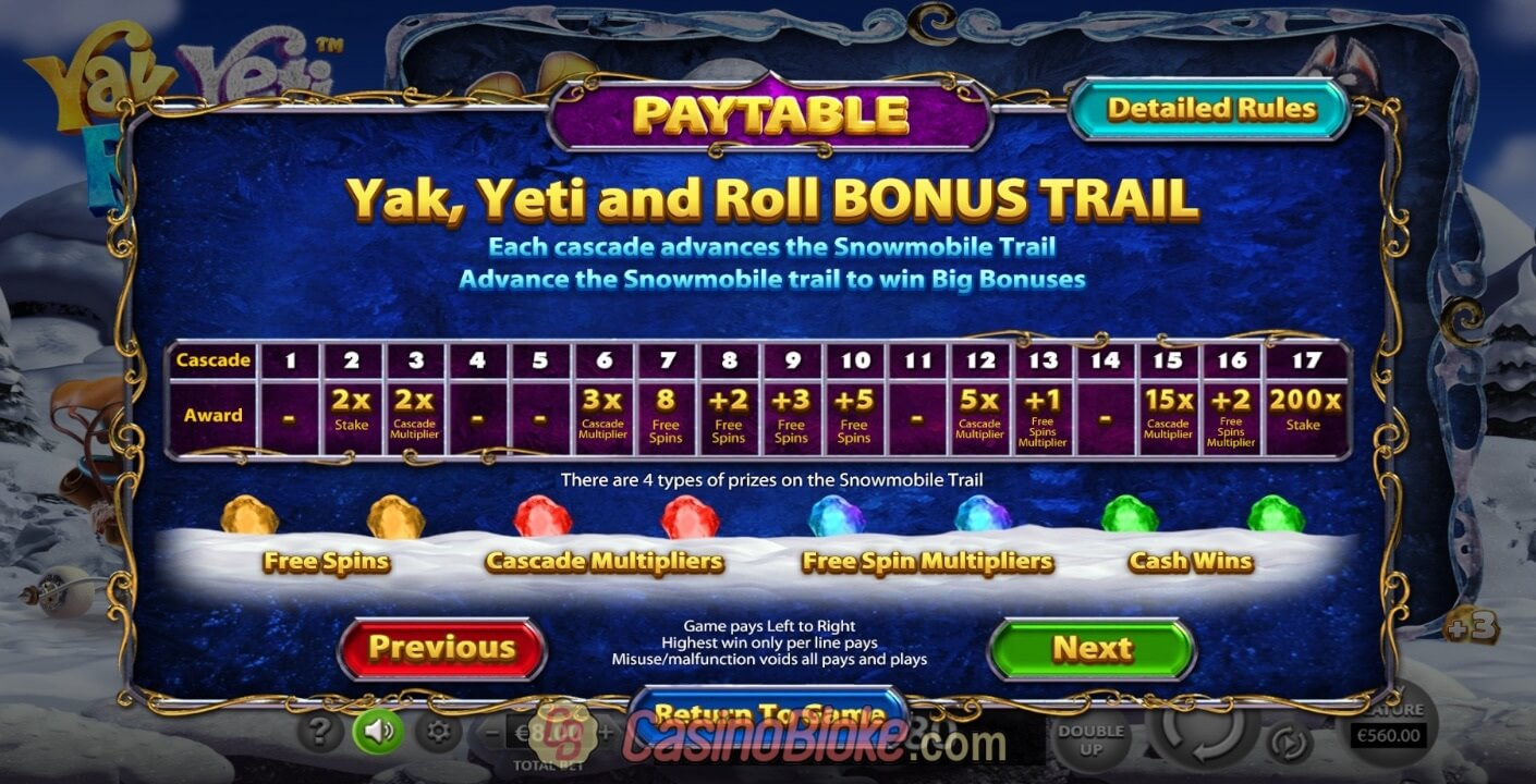 Yak, Yeti and Roll Slot Screenshots