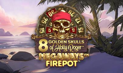8 Golden Skulls of Holly Roger Megaways logo big